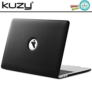 Kuzy MacBook Pro 15 Case 2017 & 2016, A1707 BLACK LEATHER Hard Case (NEWEST VERSION) with Touch Bar & Touch ID Shell Cover Leatherette 15-inch - BLACK