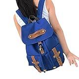 CHN'S Women Vintage Korean Canvas Brief Pocket Strap Fashion Backpack Casual Travel School Shoulder Bag Bookbag Rucksack Satchel College Daypack