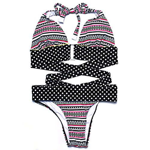 a-black-swimsuit-wave-point-printed-stripe-anchor-bikini