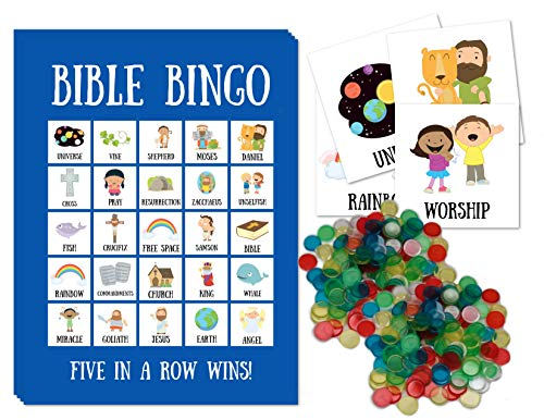 Bible Bingo for Kids Bible Bingo Cards with Bingo Chips Party Game for Christian Families for 24 Players (Games And Activities For Lesson On Samson)