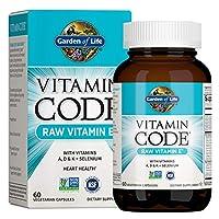 Garden of Life Vitamin E - Vitamin Code Raw E Vitamin 250 IU Whole Food Supplement with A, D, K and Selenium, Vegetarian, 60 Capsules