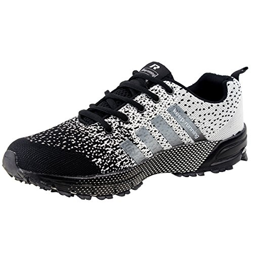 Wealsex Sport Shoes Running Walking Gym Trainers Fashion Sneakers Fitness Shoes Men Women Unisex Black and Grey