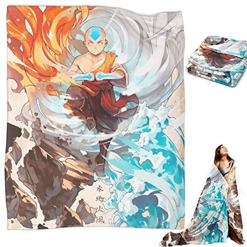 Avatar The Last Airbender Aang Anime Fleece Blanket Ultra-Soft Micro Light Weight Warm Throw Blanket (Aang, 50″x40″ for Kid)