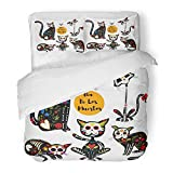 Emvency 3 Piece Duvet Cover Set Brushed Microfiber Fabric Breathable Colorful Bright with Sugar Skull Black Cats in Mexican for Holiday The Dia De Bedding Set with 2 Pillow Covers Twin Size