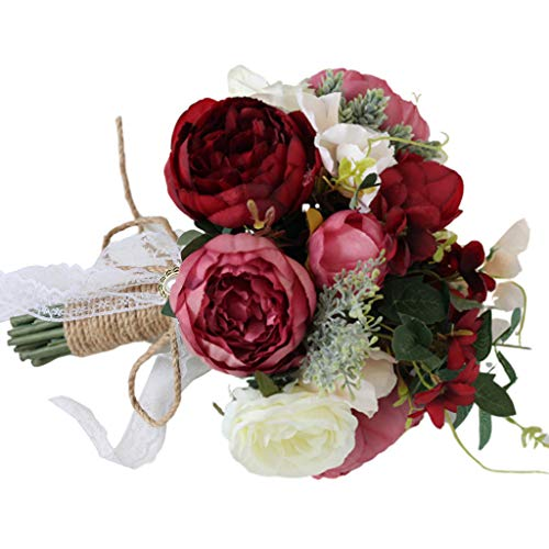 - Danyerst 7 Colors Vintage Roses Artificial Flowers Fake Bouquet with Linen Rope Bowknot Bridal Bridesmaid Wedding Floral Arrangements Home Office Yard Party Hotel Decorations Gift (Wine Red)
