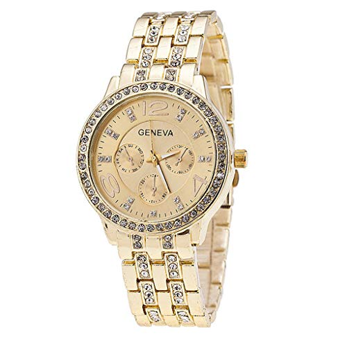 Women Luxury Watches,Stylish Elegant Round Charm Exquisite Dial Case with Diamond Crystal Accents Simple Alloy Strap Ladies Bracelet Date Dress Wrist Watches