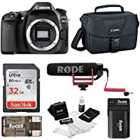 Canon EOS 80D DSLR (Body) Video Creator Kit w/ Rode VIDEOMIC GO, 32GB card & Kit