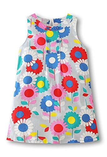 Colobe Toddler Girls Dress Summer Stripe Cotton Short Sleeve Flamingo Pattern Cartoon Casual Dresses (Casual Pattern Cartoon)