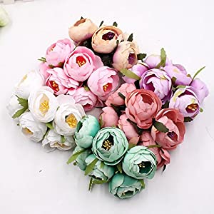 Rose tea buds Silk Big Artificial Flowers Bride Bouquet DIY Festival Home Decor Wedding Party Flores Home Hats Decoration Marriage Wreath Plants 30pcs 1