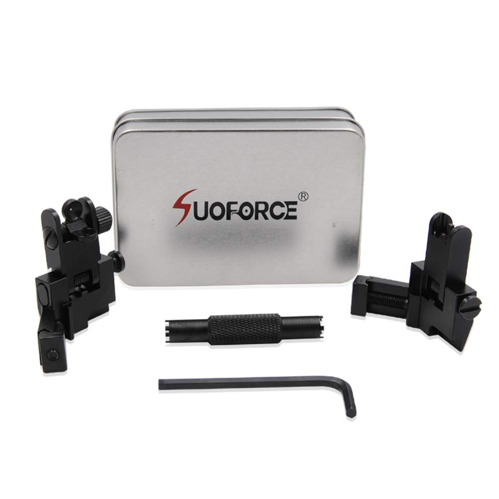 SOUFORCE 45 Degree Offset Backup Iron Sights, Front and Rear Canted Flip Up Sight Set for Picatinny and Weaver Rail Mount with Front Sight Adjustment Tool by SOUFORCE