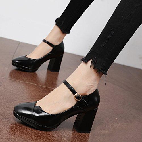 los con con tacón minimalista gruesas y Zapatos campo zapatos solo de Qiqi versátil formato de Retro Xue zapatos Negro de Corte de luz alto zapatos la TfWaqR6
