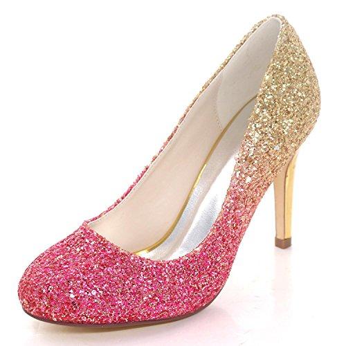 L@YC Frauen Hochzeitsschuhe 5623-44 Pailletten Bequeme Brautjungfer Court Schuhe Große Größe Sommer Red