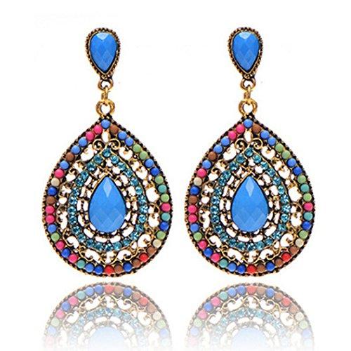 Multi Chandelier Earrings Color - BSGSH Women's Teadrop Chandelier Dangle Earrings Bohemian Retro Earrings for Wedding Party Prom (Multicolor)