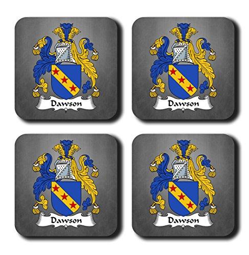 Dawson Coat of Arms/Family Crest Coaster Set, by Carpe Diem Designs – Made in the U.S.A. (Accent Dawson)