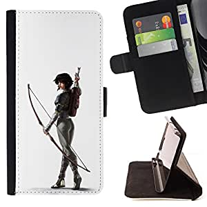 BullDog Case - FOR/HTC DESIRE 816 / - / WHITE ARCHER BUTT SEXY WOMAN ARROW /- Monedero de cuero de la PU Llevar cubierta de la caja con el ID Credit Card Slots Flip funda de cuer