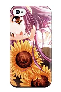 Iphone 4/4s Case Cover - Slim Fit Tpu Protector Shock Absorbent Case (anime Girls Flowers)
