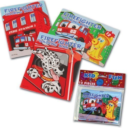 U.S. Toy Assorted Fireman Fire Engine Mini Coloring Books (4-Pack of 12)