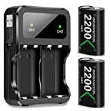 BEBONCOOL Xbox One Battery Pack 2 x 2200mAh Rechargeable Battery for Xbox One/One S/One X/Elite Controller Charger Xbox Play and Charge Kit with Two Extra Charge Port