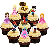 Pirates and Princesses Party Pack, Kids Edible Cupcake Toppers - Stand-up Wafer Cake Decorations by Made4You