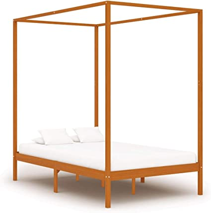 vidaXL Madera Maciza de Pino Estructura de Cama Individual con Dosel Marrón Miel 120x200 cm Somier Muebles de Dormitorio Habitación