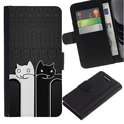 LASTONE PHONE CASE / Lujo Billetera de Cuero Caso del tirón Titular de la tarjeta Flip Carcasa Funda para Sony Xperia Z1 Compact D5503 / Black And White Cat Grey Minimalist Cute