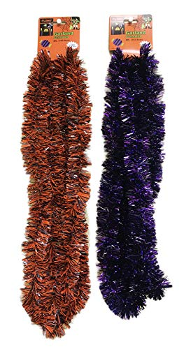 FLOMO Pack of 2 Festive Halloween Purple & Orange Decorative Holiday Garland Tinsel Decor