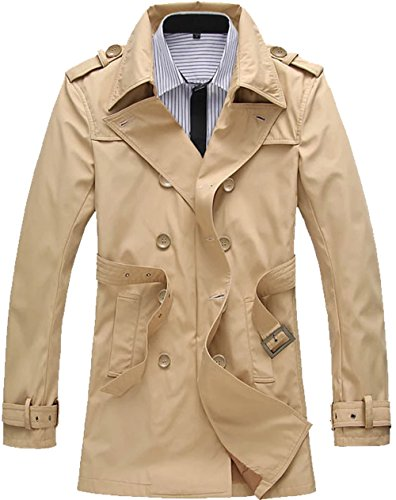 (S&S Men's Spring Double Breasted Half Trench Coat Cotton Pea Coat Windbreakers Outdoors)