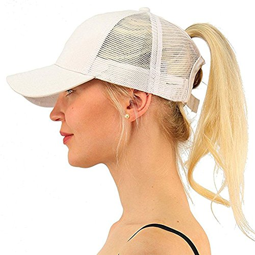 Zinuo Ponycap Messy High Bun Ponytail Adjustable Glitter Mesh Trucker Baseball Cap (White)