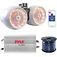 Marine Speaker And Amp Combo: Pyle PLMRMP3A 4 Channel 1200 Watt Waterproof MP3 Power Amplifier Bundle With 6.5 400W Dual Wakeboard Waterproof LED White Tower Speakers + Enrock 50Ft 16g Speaker Wire