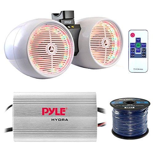 8 Line Package (Marine Speaker And Amp Combo: Pyle PLMRMP3A 4 Channel 1200 Watt Waterproof MP3 Power Amplifier Bundle With 8 600W Dual Wakeboard Waterproof LED Light Tower Speakers + Enrock 50Ft 16g)