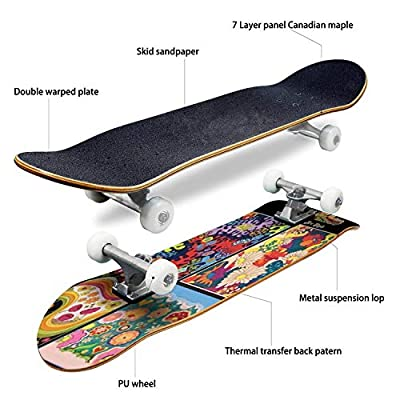 Classic Concave Skateboard Floral Pattern Set Hippie Art Style Vintage Colors and Shapes from The Longboard Maple Deck Extreme Sports and Outdoors Double Kick Trick for Beginners and Professionals : Sports & Outdoors