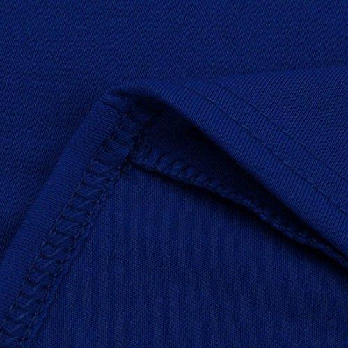Ouneed Mujeres verano casual Manga corta sólido suelto hombro cóctel playa mini vestido corto Azul