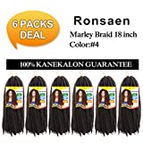 Afro Kinky Marley Braids Hair Extensions Kanekalon Synthetic Twist Crochet Braiding Hair 18 inches (18'6pieces, 4#)