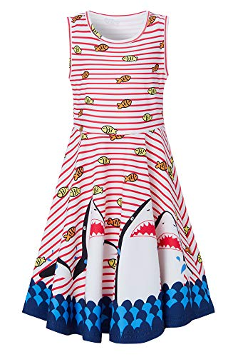 Toddler Girls Red Stripe Dresses 10-13 Yrs Fancy Shark Whale Print Adorable Tunic Skater Slim Fit Casual Swing Skirt Cute Twirling Wedding Dress for Casual School Students