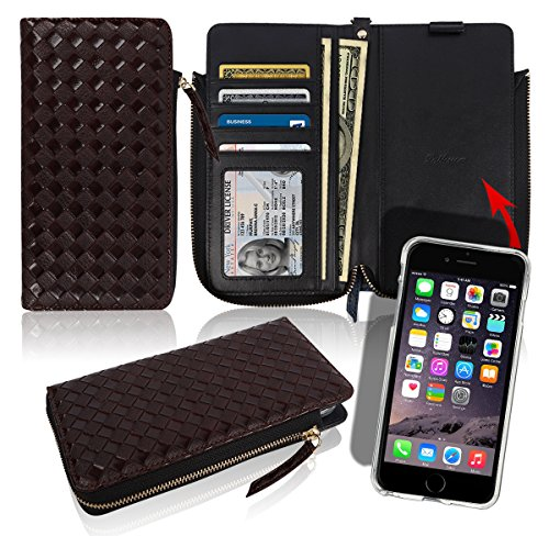 iPhone6 iPhone6S Zipper Wallet Case [4 Credit Card/ID 2 Cash Slots] Pockets Pattern Leather Magnetic Flip Slim Diary Cover Small Mini Size Pouch Clutch Bag Folio Apple iPhone 6 6S (Woven Brown)