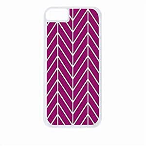 Violet Herringbone Chevrons- Case for the Apple Iphone 6 Only-Hard Black Plastic Outer Shell