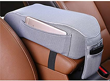 MDWK Car Armrest Box Cushion,Universal Breathable Car Armrest Center Consoles Pad with Storage Mobile Phone Pockets for Driving