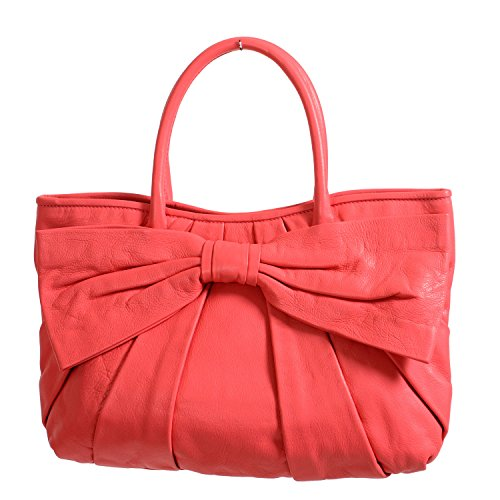 Red Valentino Women's Pink 100% Leather Bow Decorated Tote Shoulder Bag (Valentino Bag Bow)