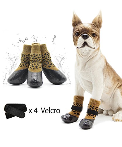 loveone Waterproof Pets Socks, Anti-Skidding Warm Dog Shoes Breathable Rain Boots, Elastic Top Line Design, Paw Protector Suit for Outdoor Sport in Winter. (Yello Leopard Print, 1.4