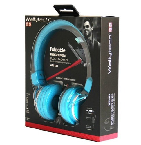 High Quality Foldable Metal Studio Headphone For Mp3 / Laptop / iPhone 5 With Mic For Samsung N7100 I9300 Headphone (Blue Foldable)