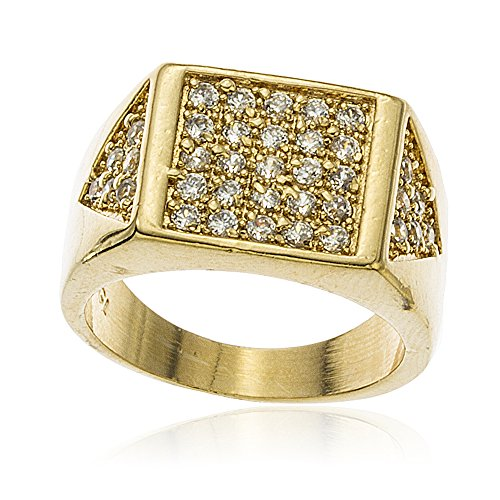 Two Year Warranty Mens Gold Overlay Iced Out Square & Side Triangle Ring with Cubic Zirconia (12) (T-1185-12) (Mens Golden Iced Out Rings)