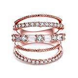 CRARINE Women's Stacking Ring Pave Cubic Zircon Eternity Promise Ring Flower Top Infinity Wedding Band -
