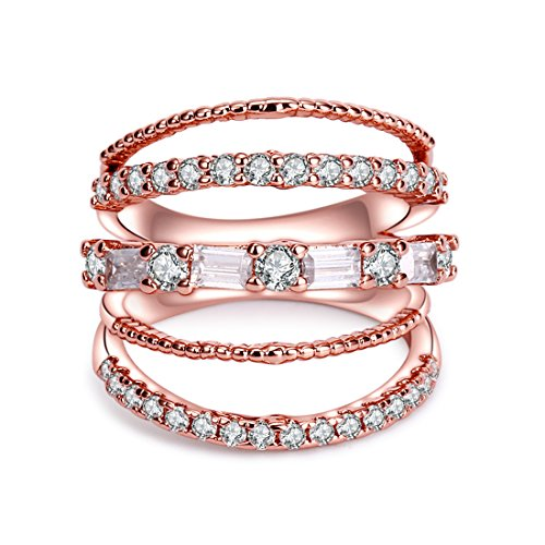 Band Rose Ring (CRARINE Women's Stacking Ring Pave Cubic Zircon Eternity Promise Ring Flower Top Infinity Wedding Band -)