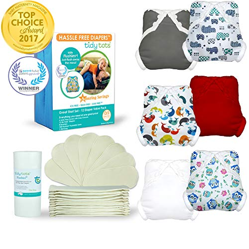 Tidy Tots Diapers Hassle Free 12 Diaper Snap Great Start Set (Hippos|Whales|Owls|Grey|Red|White)