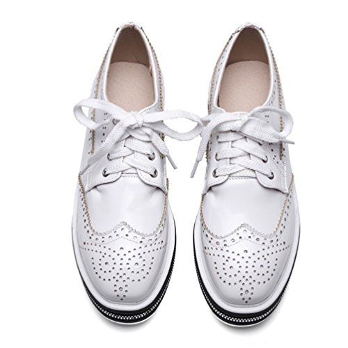 YOUJIA Damen Plateau Sneaker Keilabsatz Schnürschuhe PU Lederschuhe Slip On Schuhe Weiß