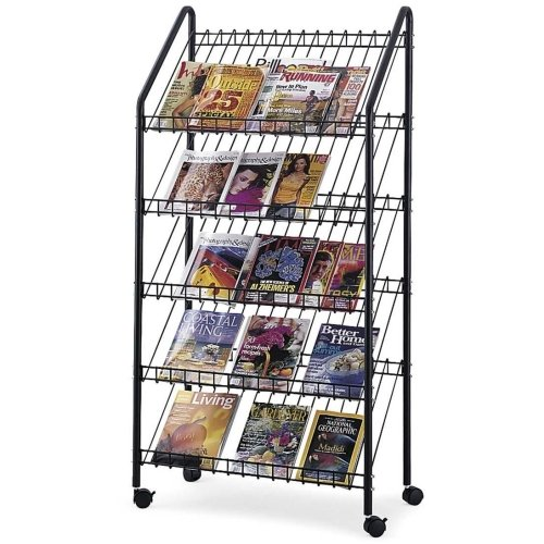 Safco Mobile Litreature Display Rack - 64quot; x 32quot; x 15.5quot; - Steel - Charcoal -