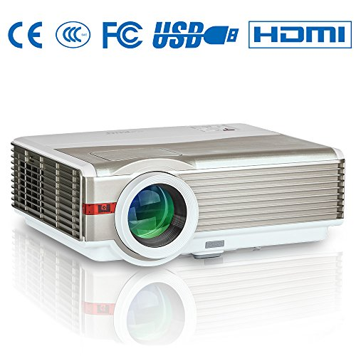 LED LCD Home Outdoor Movie Projector 4200 Lumens WXGA HD 1080p Home Cinema Projector with Dual HDMI Dual USB VGA AV TV Audio Built-in Speakers for Android Smartphone iPhone Mac Laptop PS4 Xbox DVD