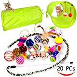 20 Cat Toys Kitten Toys Assortments - 2 Way Tunnel - Cat Feather Teaser - Wand Interactive Feather Toy Fluffy Mouse - Crinkle Balls for Cat - Puppy - Kitty - Kitten