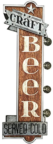 Antique Reproduction Wall Decor - Craft Beer Reproduction Vintage Advertising Sign - Battery Powered LED Lights, Double Sided Metal Wall Mounted - 25 x 9 x 4 inches