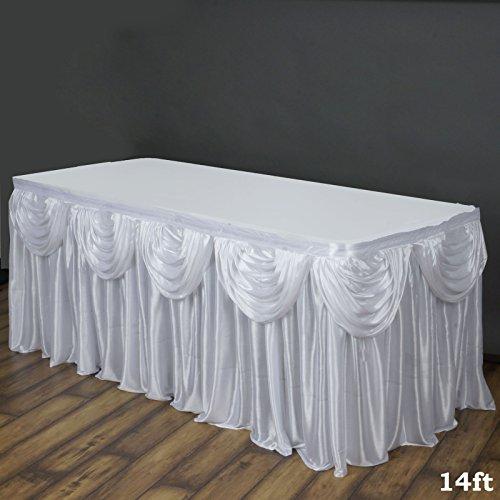 Tableclothsfactory White Satin Double Drape Table Skirt 14ft
